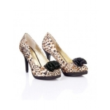 Faux Leopard-skin shoes     (brown & white)